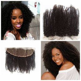 Wholesale Blended Hair Weave - Mongolian Kinky Curly Lace Closure for Blending Human Hair Extension Weaves Free Middle 3 Part Kinky Curly Top Closure Bleached Knots G-EASY