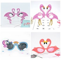 Wholesale Fancy Dress Accessories - Flamingo Unicorn Sunglasses Tropical Party Glasses Beach Party Fancy Dress Accessory Hawaiian Funny Glasses Eyewear Event Supplies LJJO3197