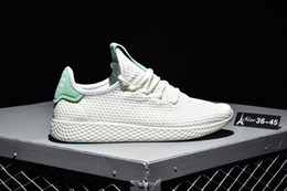Wholesale pw black - Hot Pharrell Williams HUMAN RACE Red Black Boost White Pink stan smith Pw Tennis HU 3D Primeknit Mens Women R1 Sneakers Shoes