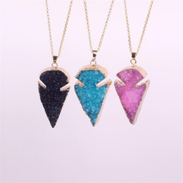 Wholesale Agate Druzy Geode Pendant Bead - Pretty Nature Crystal Agate Druzy Quartz Geode JasperStone ArrowHead Point Pendant Bead with Gold Electroplated Fashion Drusy Charm Necklace