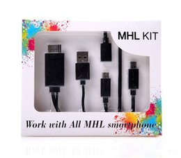 Wholesale Mobile Hdtv - HDMI Cable Kits Full HD 1080P Micro USB MHL To HDMI HDTV Adapter Converter Mobile Phone Digital Cable For Samsung Galaxy S5 S6 Note Q-SJ