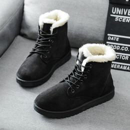 Wholesale Cute Ankle Boot Heels - 2016 women winter boots women winter shoes flat heel ankle boots casual cute warm shoes fashion snow boots women's boots