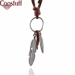 Wholesale Leather Necklaces For Men Chokers - Colar Choker Necklaces &Pendants Men Necklace Fashion Jewelry Vintage Kolye Leather Necklaces Men Statement Necklace For Women