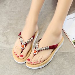 Wholesale Comfort Flip Flops - Women sandals 2016 Free Shipping comfort Summer flip flops Classic Rhinestone crystal fashion flat plus size ladies