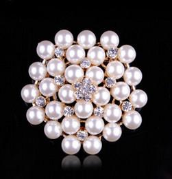 pin de color falso Rebajas 3 colores Vintage Silver Tone Rhinestone Crystal Diamante y Faux Cream Pearl Cluster Gran ramo de novia Pin Broche