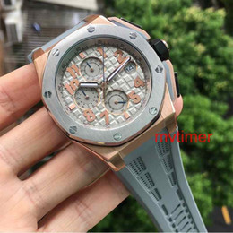 Wholesale Geneva White Rose Gold Watch - Luxury Brand AAA Rose gold Limited Edition geneva watch men LeBron James Gray White VK Quartz Chronograph Rubber Strap Dress mens Watches