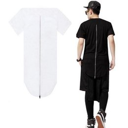 Wholesale Men S Tall - Wholesale-Skateboard Hip Hop Zipper Longline T Shirts Streetwear Fashion Design Men Tall T-Shirt Hipster Top Extended Tees Cotton 10