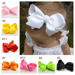Wholesale Baby Headbands New - free shipping New 5 inch 12cm big ribbon bows hair bow with soft headband,baby headband,hair accessory hairband 16colors