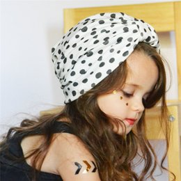 Wholesale Sweet Garden Girl - 2018 New Hot Baby Kids Beanie Caps Sweet Polka Dot Printed Hats Infant Girls Boys Rabbit Ear Cap Indian Cross Heardwear A146