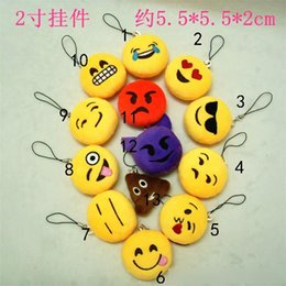Wholesale Animal Smileys - QQ Emoji Key Chains 5cm Emoji Smiley Small Keychain Emotion QQ Expression Stuffed Plush Doll Toy for Mobile Pendant
