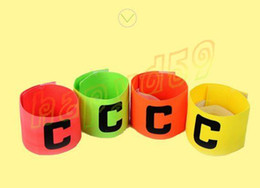 Wholesale Player Armband - Football Soccer Flexible Sports Adjustable Player Bands Fluorescent Captain Armband Hockey Rugby Skippers Armbands