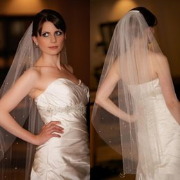 Wholesale Cheap Bridal Veils Ivory Beaded - Shining Small Crystals Beaded Wedding Veils Bridal Veils One Layer Fingertip Length Ivory Soft Tulle Net Comb Wedding Bridal Veils Cheap