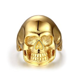 Wholesale Skull 316l - Punk Rings Mens Huge Heavy Gold Plated Skull 316L Stainless Steel Biker Ring Wholesale Skeleton Jewelry