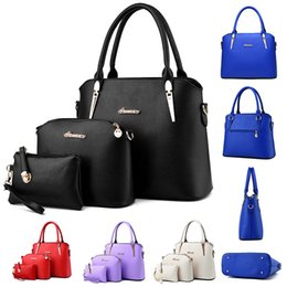 Wholesale Navy Totes - 2016 Stylish Designer 3pcs Set Women Totes Bags Fashion Classic PU Leather Handbags Lady's Shoulder Bags And Purse
