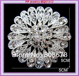 Wholesale Austria Pin - Wholesale- Bling Bling Clear Austria Crystals Snuflower Brooch For Women Silver Plated Alloy Party Costume Collar Pins Retail!!