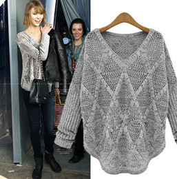 Wholesale Women Winter Sweater Outerwear - 2014092308 2014 Autumn Winter Women Loose Sweaters Batwing Sleeve Hollow Out Knitted Outerwear Brand Desige Celebrity Womens Pullovers