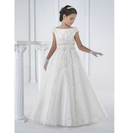 Wholesale Small Pageant Dresses - Small and pure and fresh Lace Flower Girl Dresses Appliques Bow Beads Organza Girls Pageant Gown First Communion Dresses