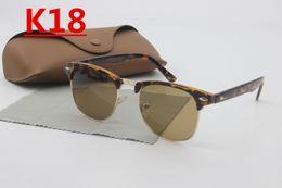 Wholesale European Sunglasses Brands - European and American fashion men's sunglasses brand designer silver box sports driving half-frame glass lens glasses uv400