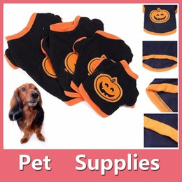 Wholesale Pumpkin Ornaments - Halloween Pumpkin Pets Dog Puppy Clothes T-shirt Apparel Dress Hoodie Costume Pet Supplies Size XS-L 160918