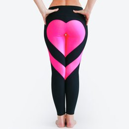 2019 pantaloni yoga modello 2017 donne moda cuore modello splice leggings Harajuku Athleisure abbigliamento fitness leggings sportivi elastici pantaloni di yoga