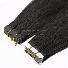 Wholesale Taped Wefts Hair Extensions - Tape In Human Hair Extensions 2.5g piece 40pieces pack Original Natural Raw Virgin Brazilian Skin Wefts Tape Hair Natural Color VMAE Hair