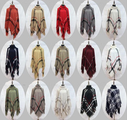 Wholesale Women Plaid Poncho - Plaid Poncho Women Tassel Blouse Knitted Coat Sweater Vintage Wraps Knit Scarves Tartan Winter Cape Grid Shawl Cardigan Cloak OOA2903