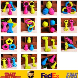 Wholesale Rubber Cat Toy - 15 Style Pet Dog Puppy Cat Rubber Dental Teeth Chews Bone Play Training Fetch Fun Toys HH-T21