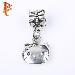 Wholesale Lovely Kitty Cat - BELAWANG Silver Charm Beads The Lovely Kitty Cat Pendant Beads Fit Fashion Lovely Charm Bracelets&Bangles Jewelry Accessories DIY Making