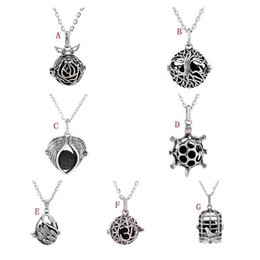 Wholesale Multi Stone Pendants - Fashion 7 Styles Black Lava Stone Beads Essential Oil Diffuser Necklace Heart Tree of Life Multi Charms Jewelry for Women