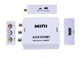 Wholesale Mini Ntsc Pal Converter - 2016 HDMI Interface Mini HD Video Converter Box HD To AV CVSB Video HDMI To AV Adapter HDMI2AV Support NTSC and PAL Output