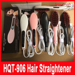 Wholesale Hair Straightener Uk Plug - Update US UK AU EU Plug Fast Hair Straightener Styling Tool Flat Iron NASV Beautiful star Comb Brush LCD Digital Temperature Control HQT-906