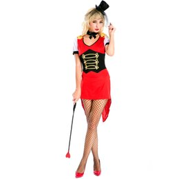 Wholesale Magician Costume Women - Sexy Red Magician Dress for Women Halloween Costumes Animal Trainer Tailcoat Carnival Fantasy Cosplay Short Sleeve Fancy Dress A158623