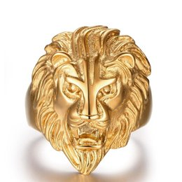 Wholesale Stainless Ring Lion - DaviesLee Retro Men's Stainless Steel Vintage African Lion King Face Lion Head Ring for Men Women Gold Jewelry Chrismas Gift