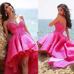 Wholesale Images Sweet Heart Neck - Sexy Hi-Lo Homecoming Dresses Strapless Beading Crystal Tiered Prom Dresses Backless Sweet Heart Neck Sweep Train New Arrival Cocktail Gowns