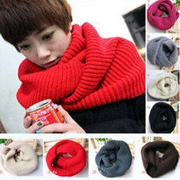 Wholesale Acrylic Circle Scarves - 2016 New Fashion Unisex autumn winter scarf women Warm Knit Neck Circle Wool Blend Cowl Snood Ring Scarves Long Scarf Shawl Wrap
