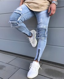 Wholesale Stripe Pocket Jeans - Sisibalution 2017 New Fashion kinny jeans Ripped biker jeans zipper multi-pocket hole Motorcycle Cargo pants denim trousers
