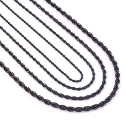 Wholesale 7mm Rope Chain - Wholesale Stainless Steel Necklaces 2 2.4 3 4 5 6 7mm Wide Mens Chain Necklace Black Stainless Steel Rope Chain