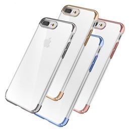 Caja de borde s6 claro online-Slim Plating Clear TPU Funda protectora de silicona para iPhone Xs max xr 8 7 6 plus Funda para Samsung S8 s9 Plus S7 S6 Fundas Edge Fundas Coque