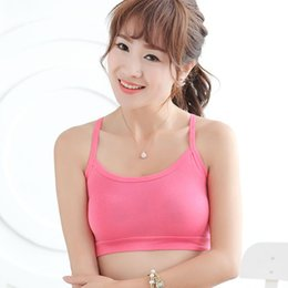Wholesale Yellow Wrapped Candy - Wholesale-Candy Color Women Strap Vests Sports Bra Cami Wrap Chest Soft Crop Top Underwear X16