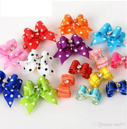 pet rubber Australia - Wholesale - Special Sales!! Handmade Fashion dog bows Grooming dog Hair Accessories Pet hair bows For Puppy Gifts Hair Rubber Bands 0595