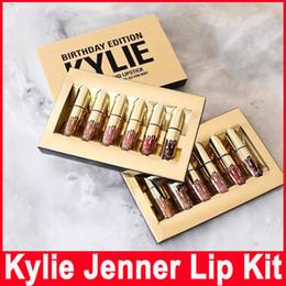 Wholesale Lip Gloss Wholesale Cosmetics - Gold Kylie Jenner Birthday Edition Lip Kit Matte Liquid Lipsticks Lipstick Lip Kit Lip Gloss Cosmetics Set Leo Lipgloss 6pcs set