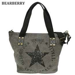 Wholesale Canvas Tote Bag Factory - Wholesale- BEARBERRY 2017 BIG STAR PRINTING VINTAGE CANVAS SHOULDER BAGS Women Travel Tote Factory Outlet Plus Size Multifunctional Bolsos