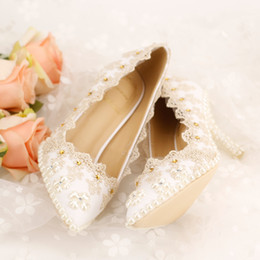 Wholesale Champagne Diamond Bridal Shoes - Champagne Diamond Bridal Wedding Shoes Lace Evening Bling Shoes High Heels Pearl Bride Shoes Women Lady Shoes