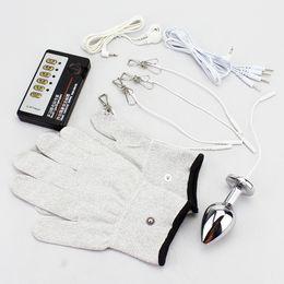 Wholesale Gloves Anal - BDSM Electro Kit Metal Anal Plug Nipple Clamp Conductive Super Elastic Gloves Electro Shock Sex Toys Bondage Gear Adult games