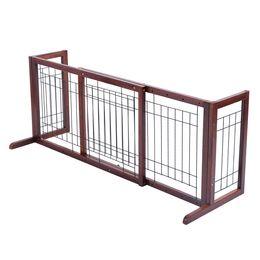 Wholesale Pet Dog Gates - Wood Dog Gate Adjustable Indoor Solid Construction Pet Fence Playpen Free Stand