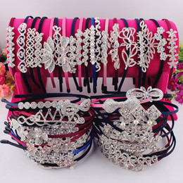 Wholesale Hair Accessories Crystal Bow - wholesale bow flower mix styles full crystal rhinestone hair band women fine hairband fashion girls hair accessory high quality