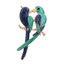 Wholesale Parrot Accessories - Vintage Dual Bird Parrot Brooches Expoyed Alloy Brooch Pin Garment Accessories