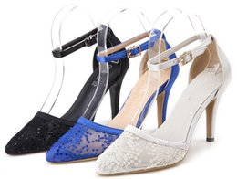 Wholesale Satin Beige Heels - Hot sell new style sexy satin lace buckles dreee shoes women pointed head high heels shoes bride wedding shoes size 35-40 yzs168
