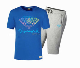 Wholesale Unique Design Suits - 2017 Summer Fashion Diamond Supply suit Men's t shirts Cool diamond supply t shirt Unique Design Short Sleeve Men set