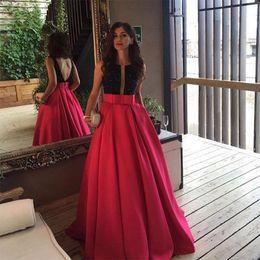 Wholesale Long Sleeve Gala Dresses - Open Back Fuchsia Long Evening Prom Dresses Arabic Formal Dress Black Beaded Vestido De Gala 2017 Custom Special Occasion Evening Gowns